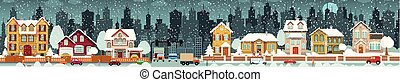 City life (Winter) - Vector illustration of city in winter...