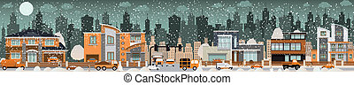 City life (Winter) - Vector illustration of city life...