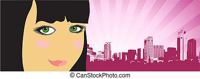 City life, woman on the street