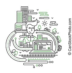 City lifestyle composition - line design illustration