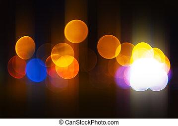City light bokeh background, urban street traffic at night