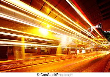 city light trails on traffic road