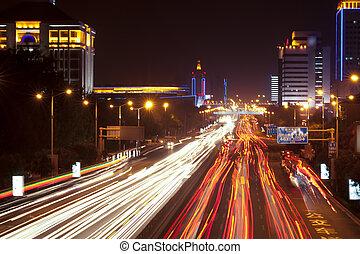 city, light trails
