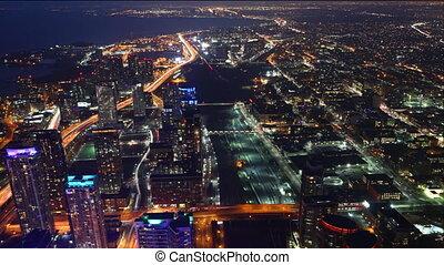 City lights at night in Toronto