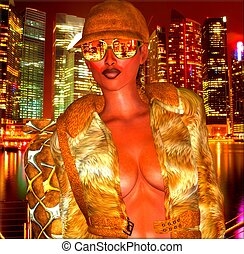 City lights at night,disco girl.