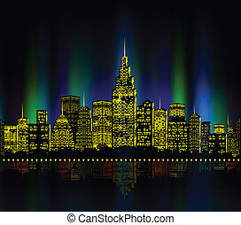 City lights, cityscape colourful