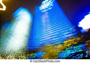 City lights in motion blur