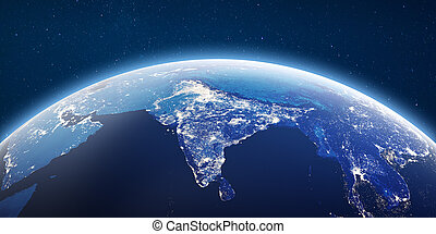 City lights India. Elements of this image furnished by NASA...