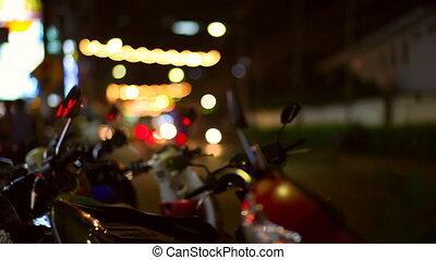 City lights. - Night life of Thailand city. Blurred lights,...