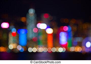 City lights - Night lights of the Hong Kong city