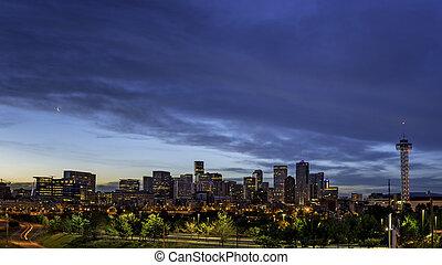 City lights of Denver Colorado