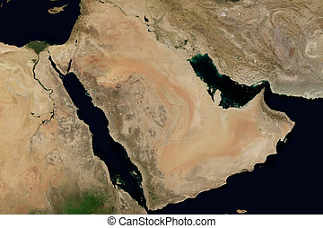 City lights on world map. Arabian Peninsula.