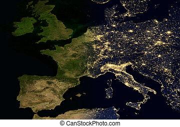 City lights on world map. Europe.