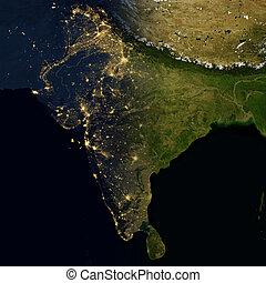 City lights on world map. India.