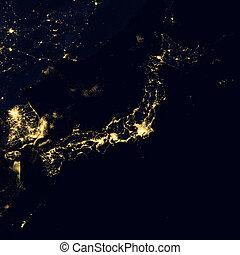 City lights on world map. Japan.