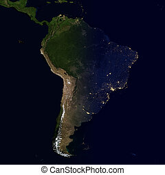 City lights on world map. South America.