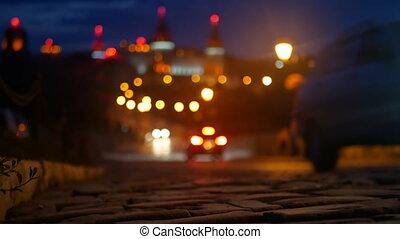 City lights road car - City lights on the road night city