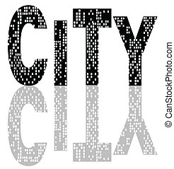 City Lights - The word city spangled with illuminated ...