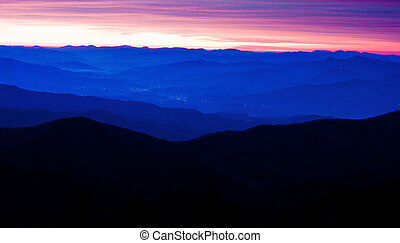 Appalachian Mountains - City Lights twinkle below the ...