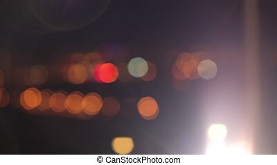 City lights with beautiful bokeh and backlight