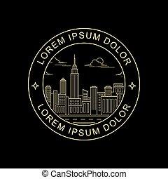 city line art style stamp design