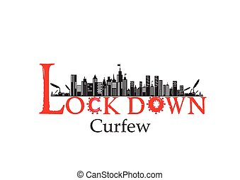 City lockdown banner illustration / pandemic, corona virus, COVID-19