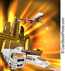City Logistics Delivery Graphic - City logistics delivery...