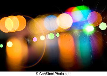 city., lumières, defocused
