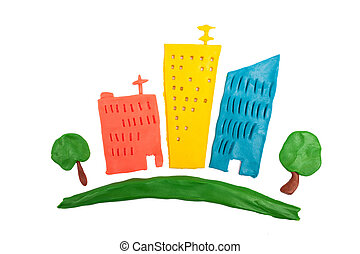 City made of plasticine - Abstract cartoon colorful city...
