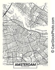 City map Amsterdam, travel vector poster design detailed ...