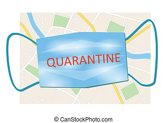 city map and blue mask with word quarantine - vector illustration