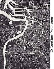 City map Antwerp, monochrome detailed plan, vector ...