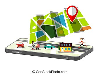 City Map App on Cellphone Isolated on White Background. GPS Navigation Symbol with Cars and People.