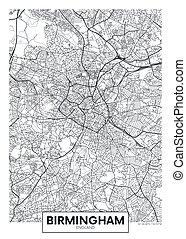 City map Birmingham, travel vector poster design
