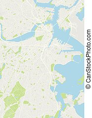 City map Boston, color detailed plan, vector illustration