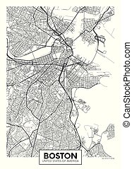 City map Boston, travel vector poster design