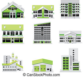 Set of buildings. Can be used as standalone icons or for city map creation