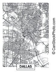 City map Dallas, travel vector poster design