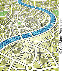 City map - Editable vector illustration of a nameless street...