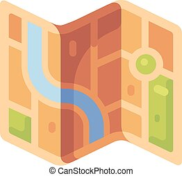 City map flat illustration. Travel guide map flat icon