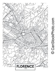 City map Florence, travel vector poster design art for interior decoration