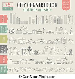 City map generator. Elements for creating your perfect city...