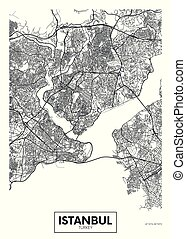 City map Istanbul, travel vector poster design detailed plan...