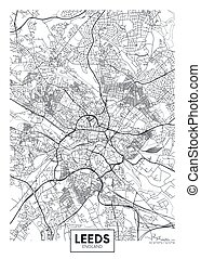 City map Leeds, travel vector poster design