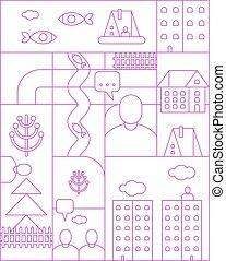 City map linear pattern seamless. cartoon Town backgrund. Vector texture