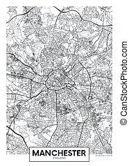 City map Manchester, travel vector poster design