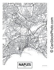 City map Naples, travel vector poster design art for ...