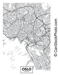 City map Oslo, travel vector poster design for interior decoration