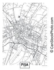 City map Pisa, travel vector poster design art for interior decoration