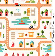 City map seamless background pattern